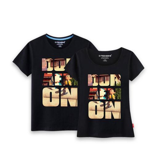 哆啦海报情侣t恤-《哆啦a梦》情侣款黑色短袖套装