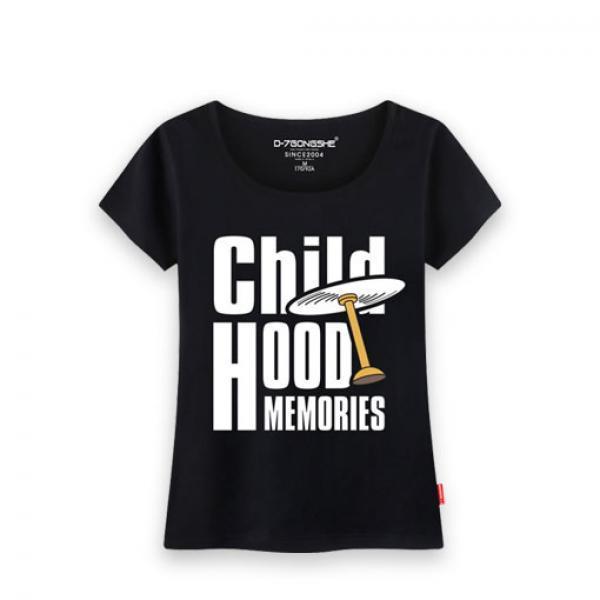 黑色哆啦竹蜻蜓女款T恤-《哆啦A梦》女款黑色短袖