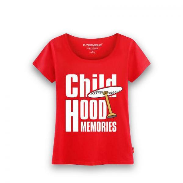 红色哆啦竹蜻蜓女款T恤-《哆啦A梦》女款红色短袖