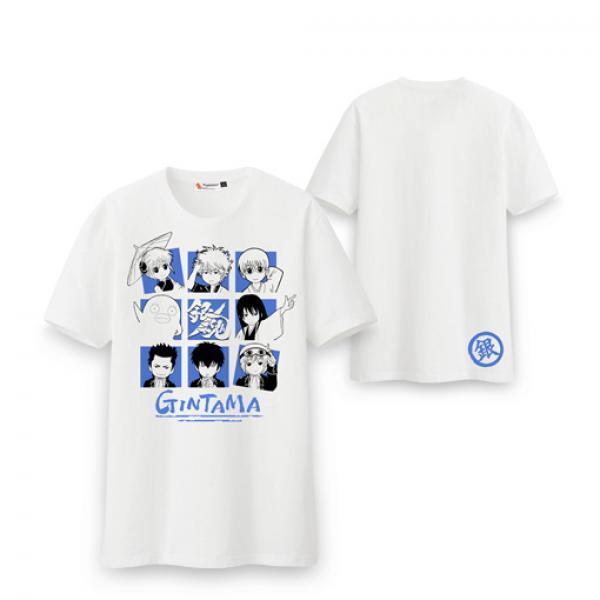 Q版银魂九宫格T恤-《银魂》 漫踪 坂田银时 伊丽莎白 动漫短袖
